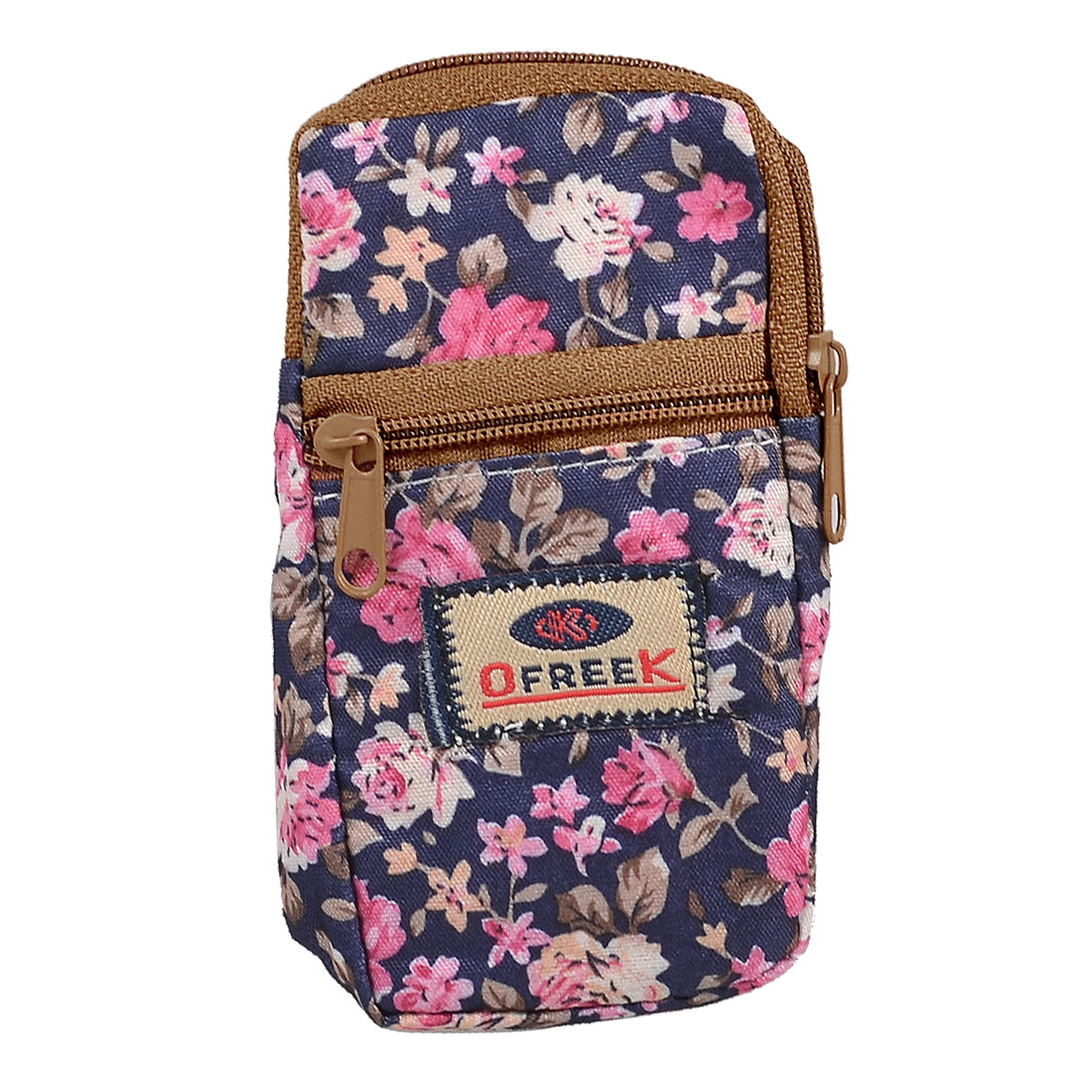 Flower Print Zipper Closure 2-pocket Purple Mobile Phone Wrist Bag Pouch