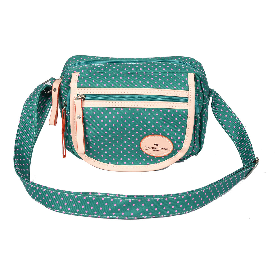 Ladies Adjustable Strap Dot Pattern 3-pocket Green Canvas Shoulder Bag Handbag