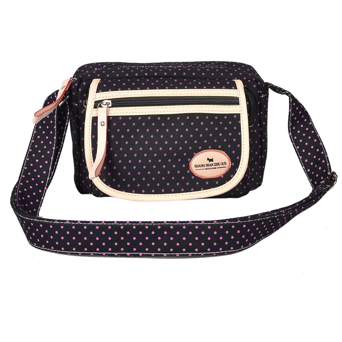 Adjustable Strap 3-pocket Black Canvas Shoulder Bag Handbag for Ladies