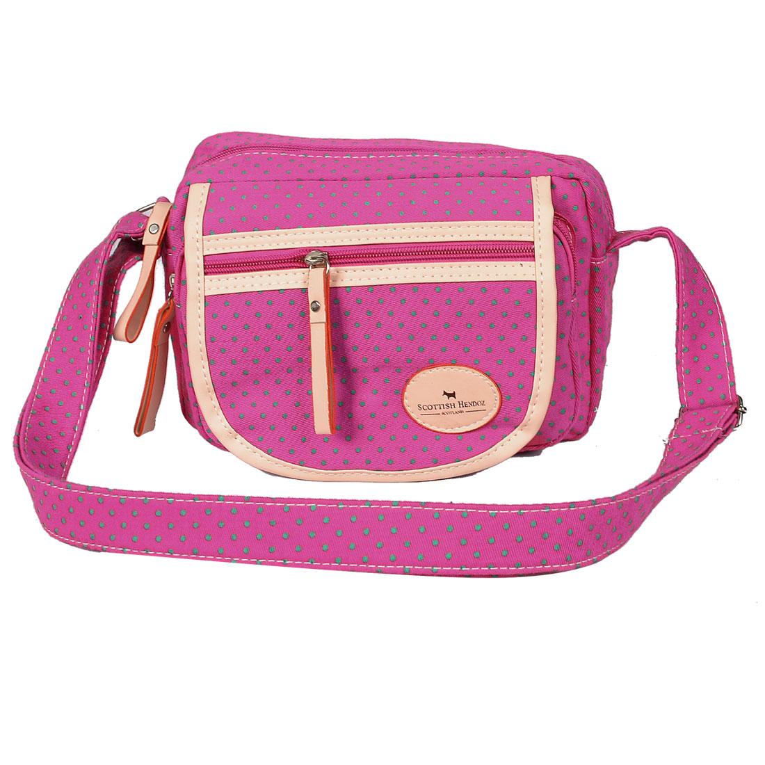 Zipper Closure Dot Pattern 3 Pockets Fuchsia Shoulder Bag Handbag for Lady