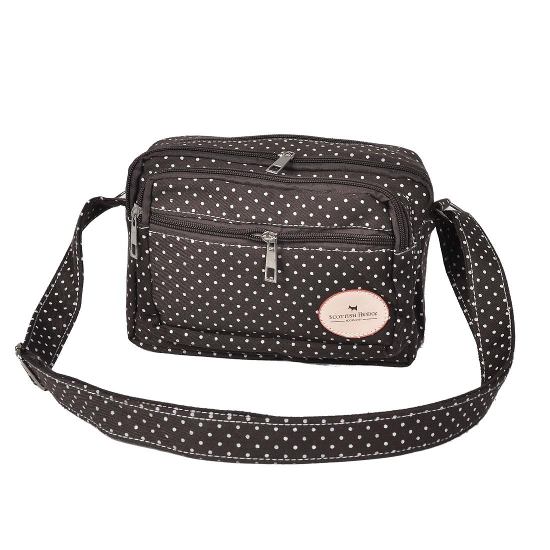 Woman Adjustable Strap Zipper Closure 4 Pocket Dark Coffee Shoulder Bag Handbag