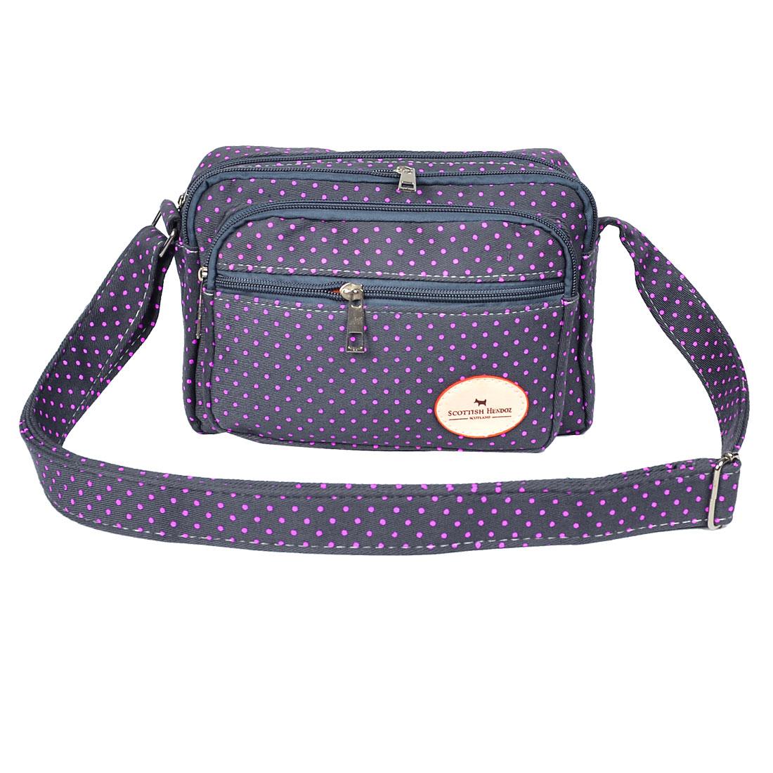 Lady Dot Pattern 4 Slots Dark Gray Fuchsia Zipper Shoulder Bag Handbag Cash Holder
