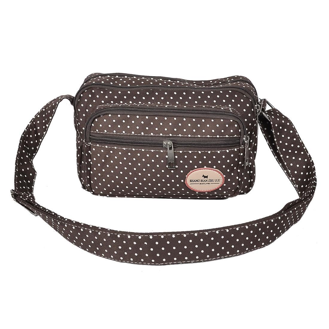 Zipper Closure Dot Print 4 Pocket Dark Coffee Shoulder Bag Handbag for Lady