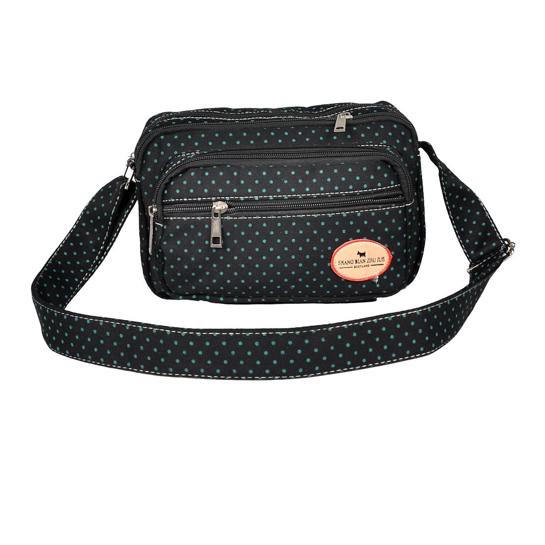 Zipper Closure Dot Pattern 4 Pockets Black Shoulder Bag Handbag for Woman
