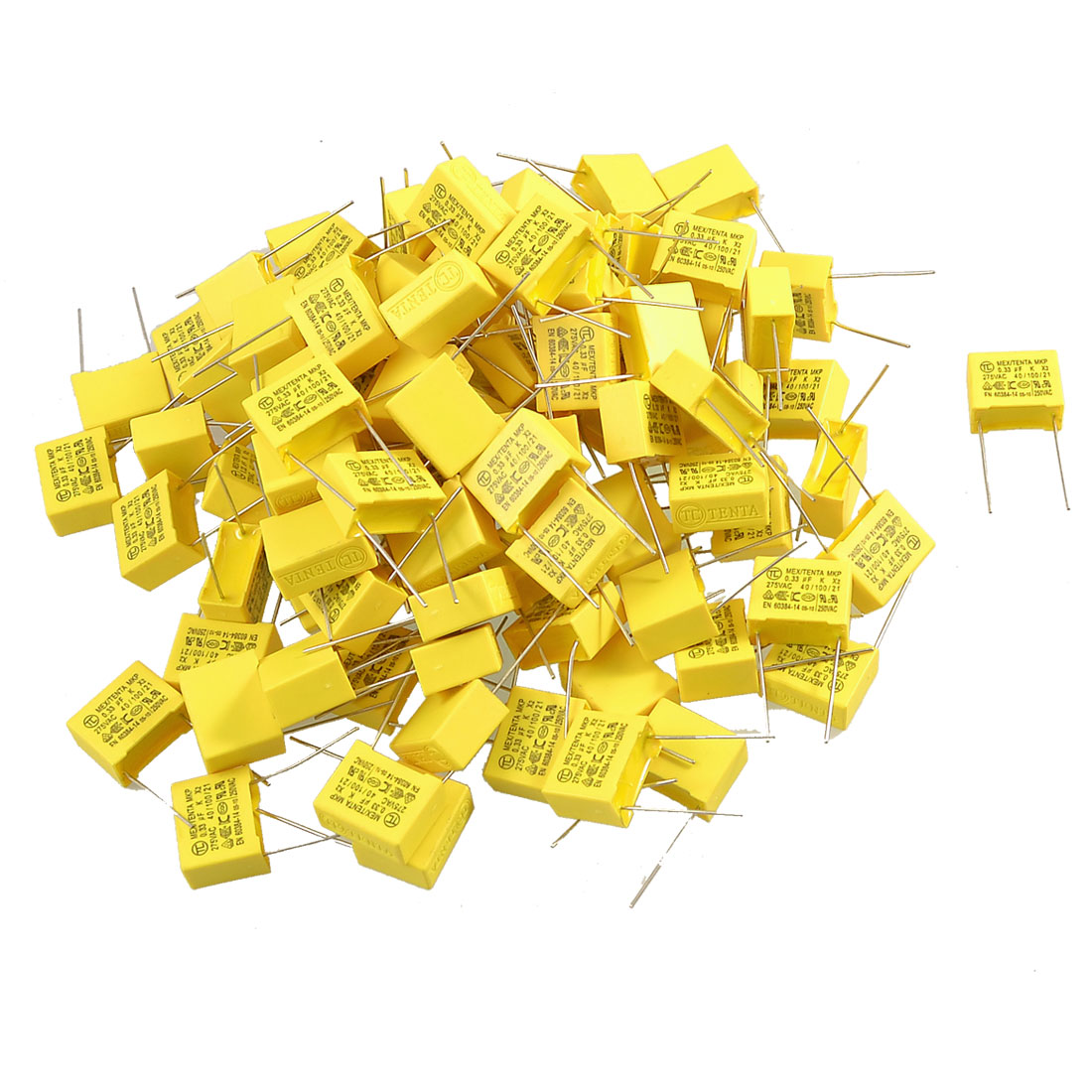 100 Pcs 0.33uF 275V AC Safety Polypropylene Film Capacitors