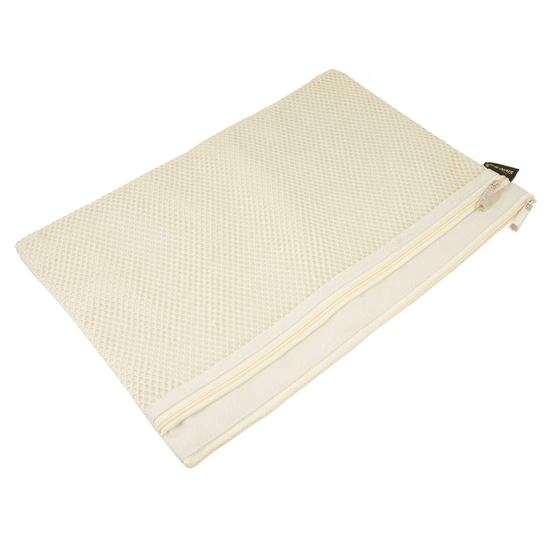 Beige Zipper Closure Nylon Netting Design Files Bags for A4 Paper