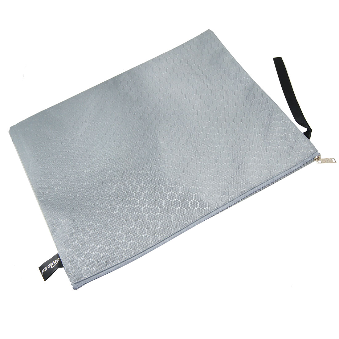 Gray Zipper Closure Nylon Hexagon Printed Files Bags Holder for A4 Paper