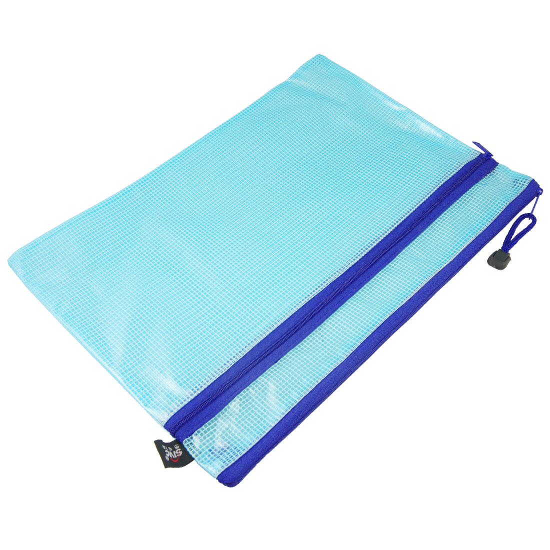 Grid Design Zip Up Blue Clear A4 Paper Document File Bags Holder