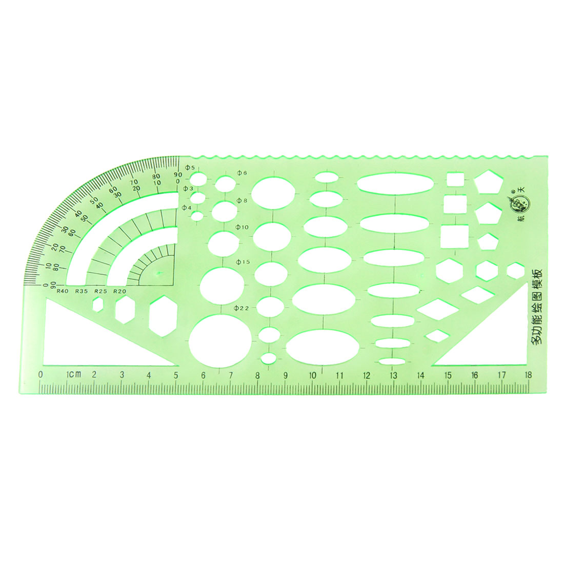 Green Educational Stationery Measuring Template Ruler Guide for Students