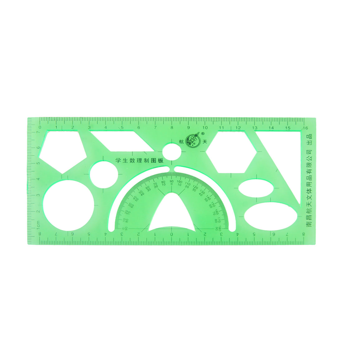 Clear Green Plastic Hollow Students Geometric Template Rulers