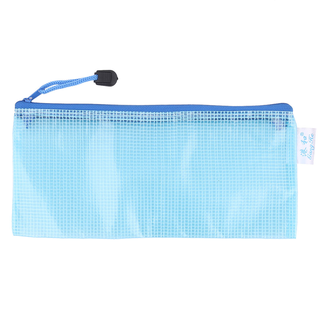 Grid Design Blue Zipper Closure Soft PVC Stationery Pouch Bag