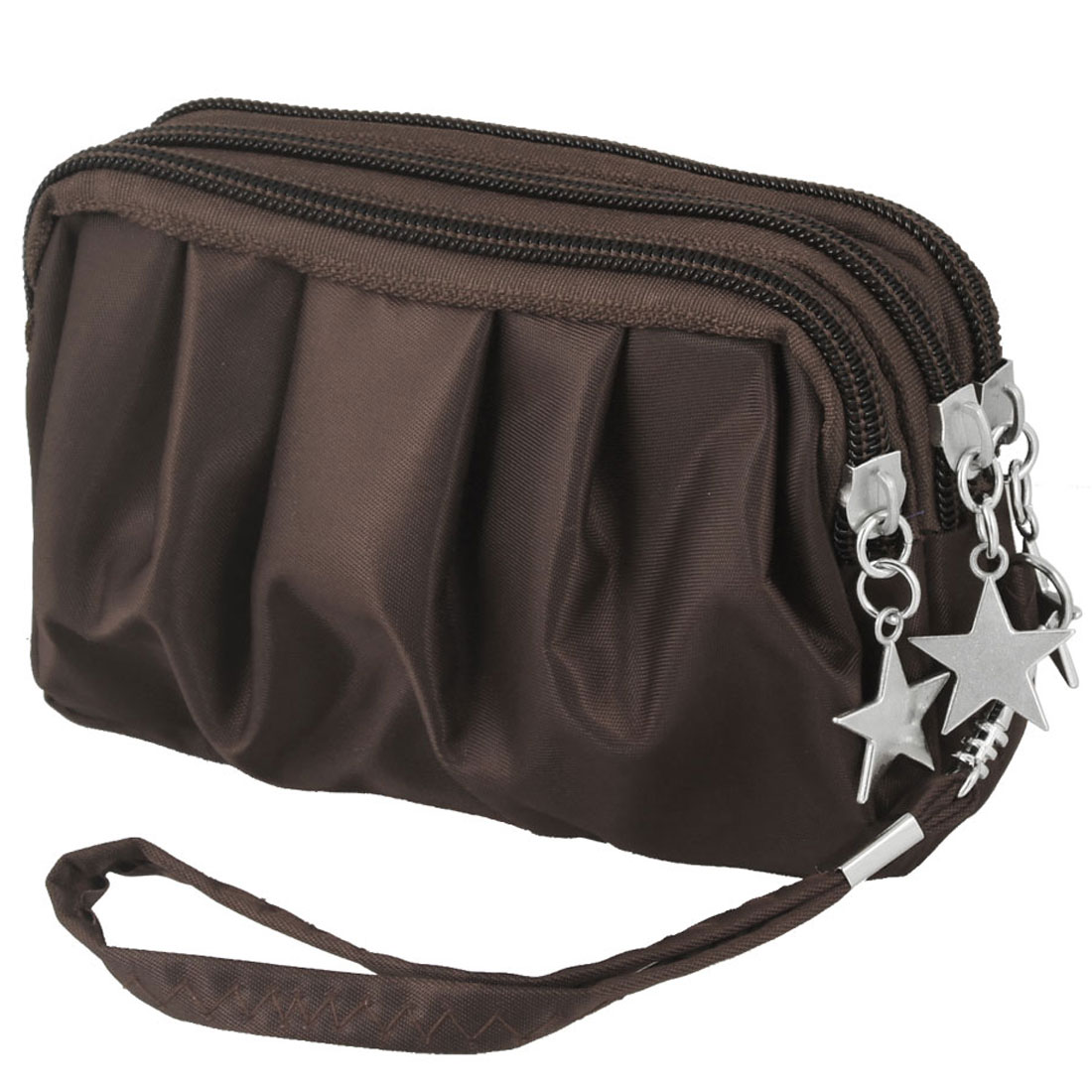 Coffee Color Drape Pattern Zip Up Metal Stars Decoration Pouch Purse Bag for Lady