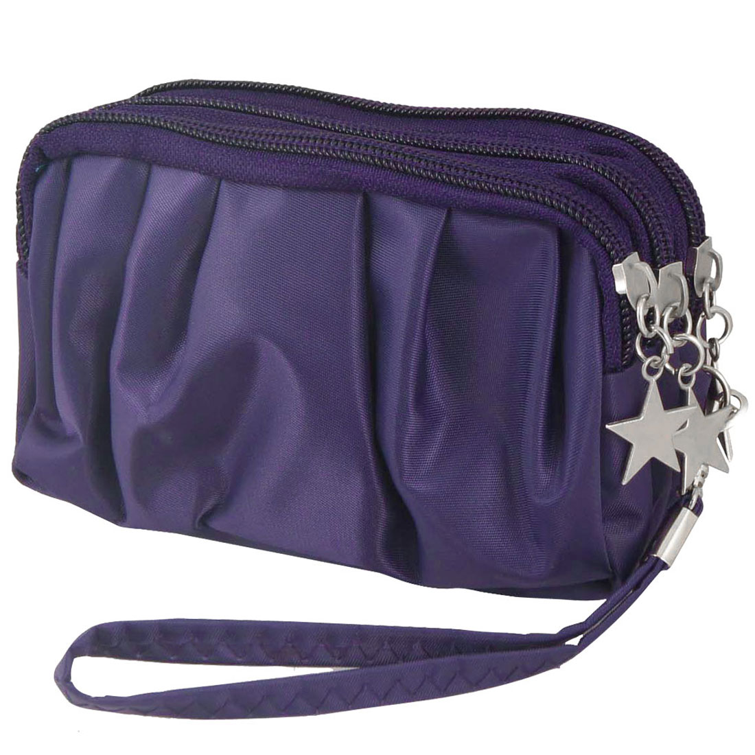 Lady Dark Purple Drape 3 Layers Zipped Metal Star Decor Handbag Pouch Purse