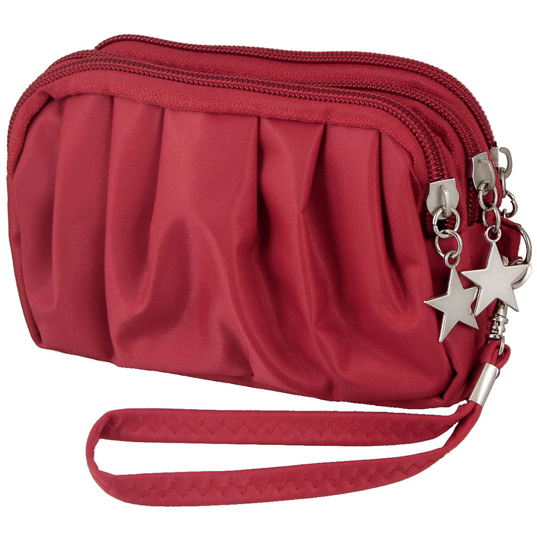 Lady Red Drape Pattern Three Layers Zip Up Metal Star Decor Pouch Purse Bag