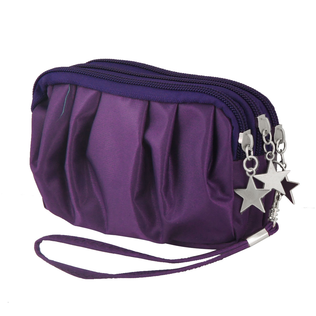 Lady Purple Drape 3 Layers Zipped Metal Star Decor Pouch Purse