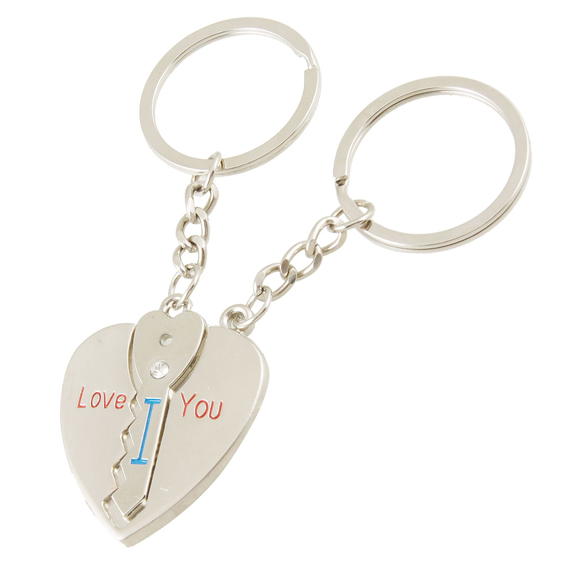 Couple Lover Gift Heart Key Pendant Metal Keychain Keyring 2 Pcs