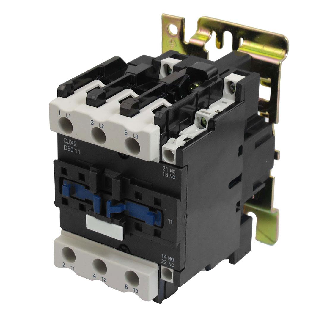 220V 50/60Hz Coil 50A 3 Pole 1NO 1NC AC Contactor w Bracket Plate