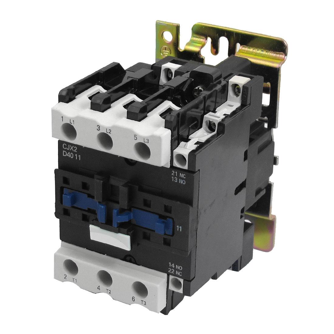 220V 50/60Hz Coil 40A 3 Pole 1NO 1NC AC Contactor w Bracket