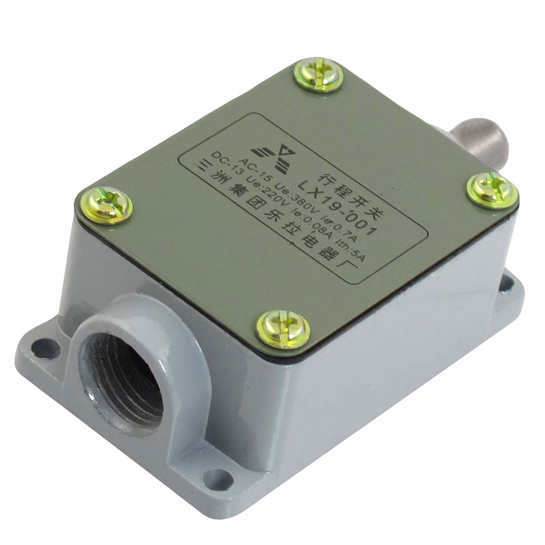 0.08A 220VDC 0.7A 380VAC Momentary 1NO 1NC SPDT Push Plunger Limit Switch LX19-001