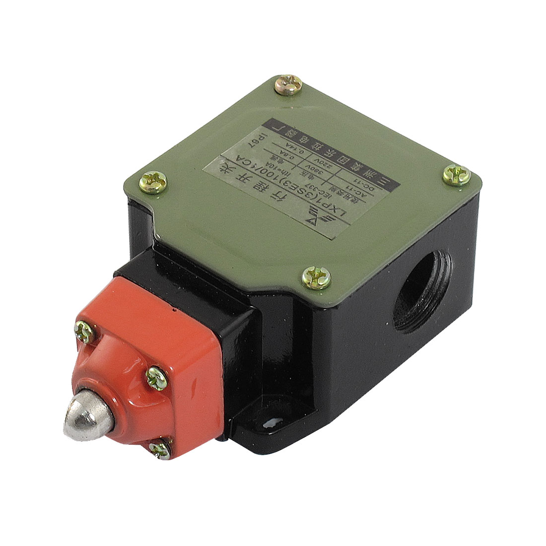 0.14A 220VDC 0.8A 380VAC 1NO 1NC SPDT Momentary 3 Hole Push Plunger Limit Switch
