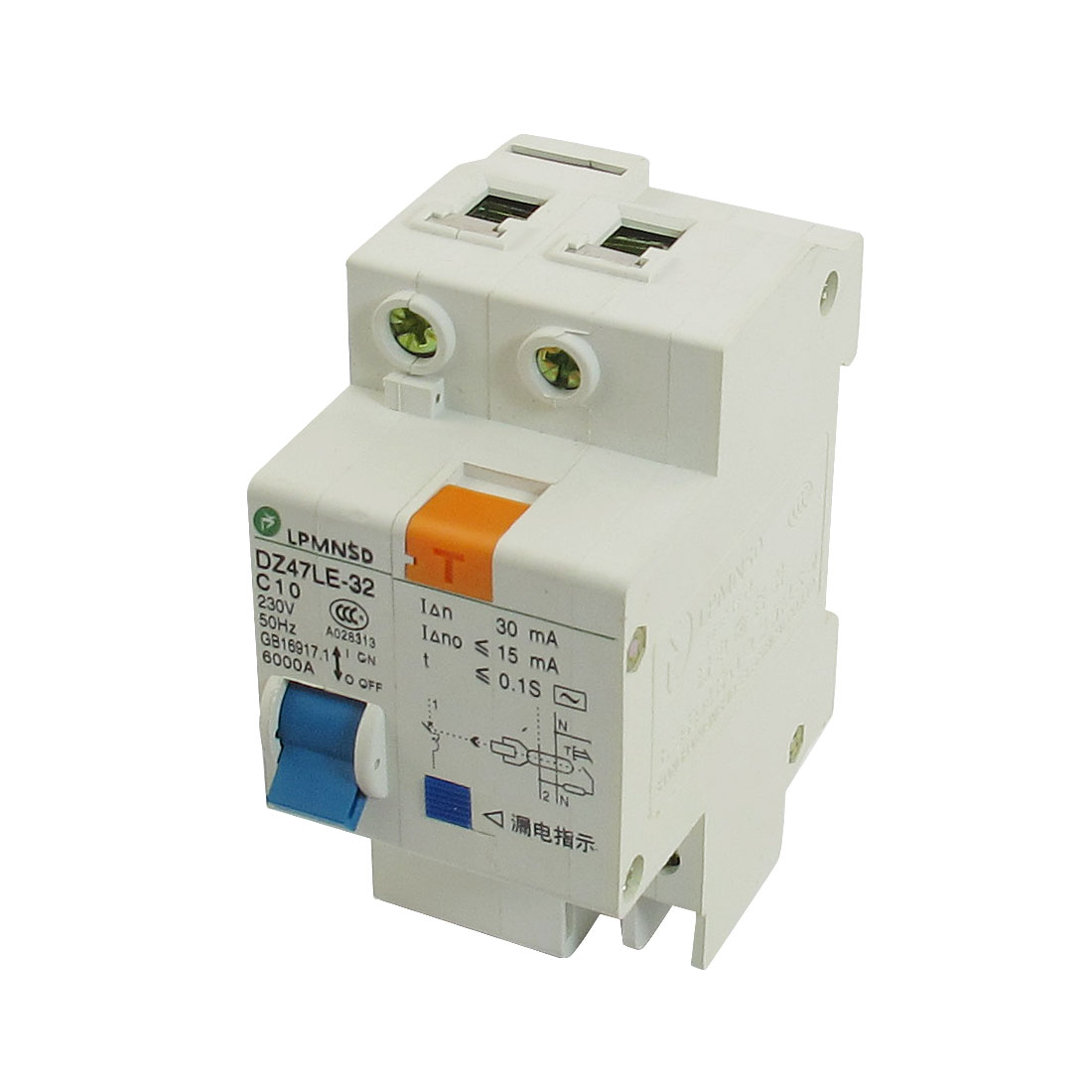 DIN Dail 1P Overload Proetction Circuit Breaker 230VAC 10A 6000A DZ47LE-32