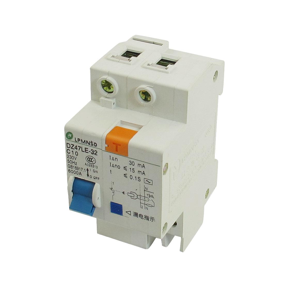 DIN Dail 1P Overload Proetction Circuit Breaker 230VAC 10A 6000A DZ47LE-32