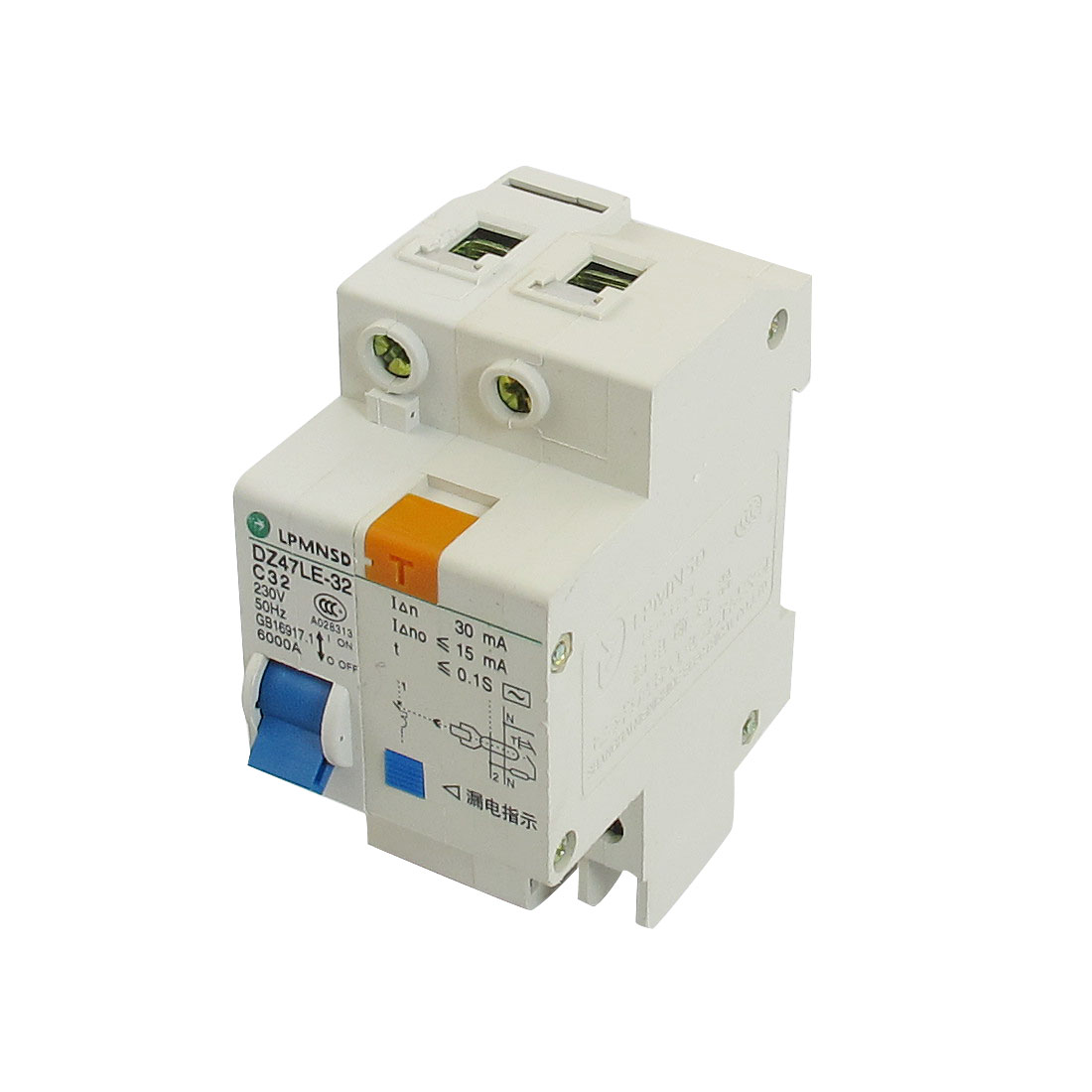 DIN Dail 1P Overload Proetction Circuit Breaker 230VAC 32A 6000A DZ47LE-32