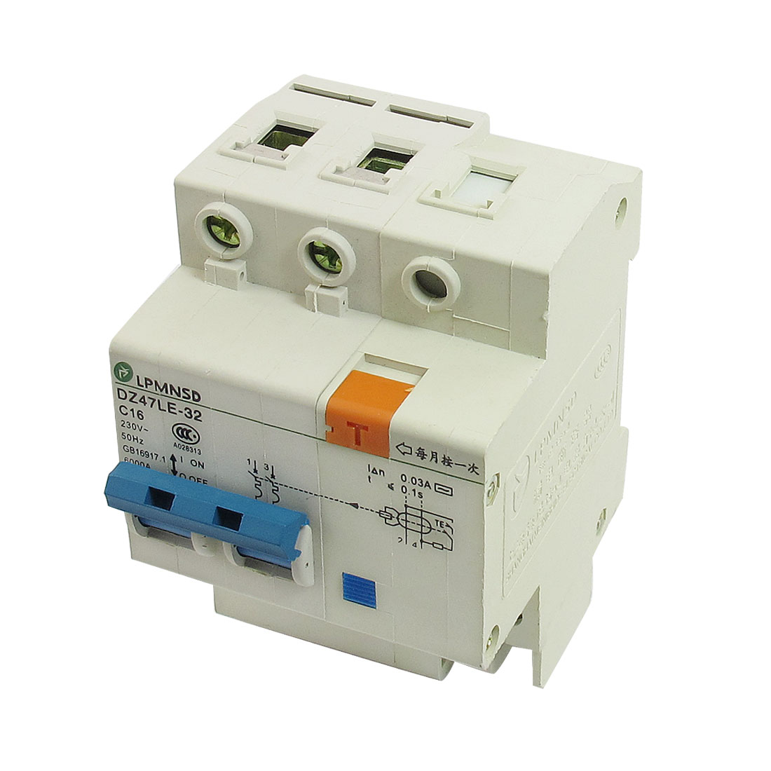 Electric Switch Type 6000A 16A 230VAC Two Poles Earth Leakage Circuit Breakers