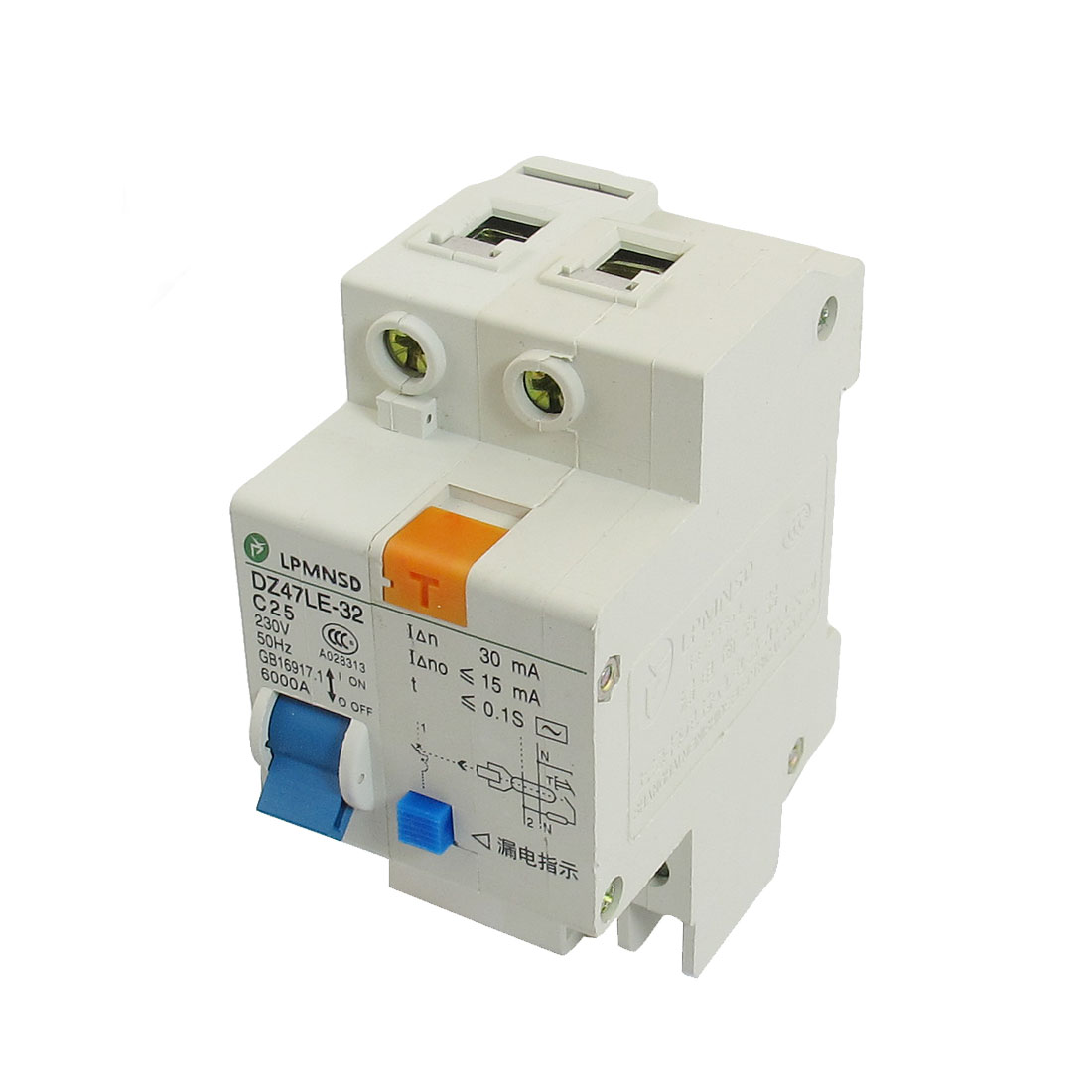 DIN Dail 1P Overload Proetction Circuit Breaker 230VAC 25A 6000A DZ47LE-32