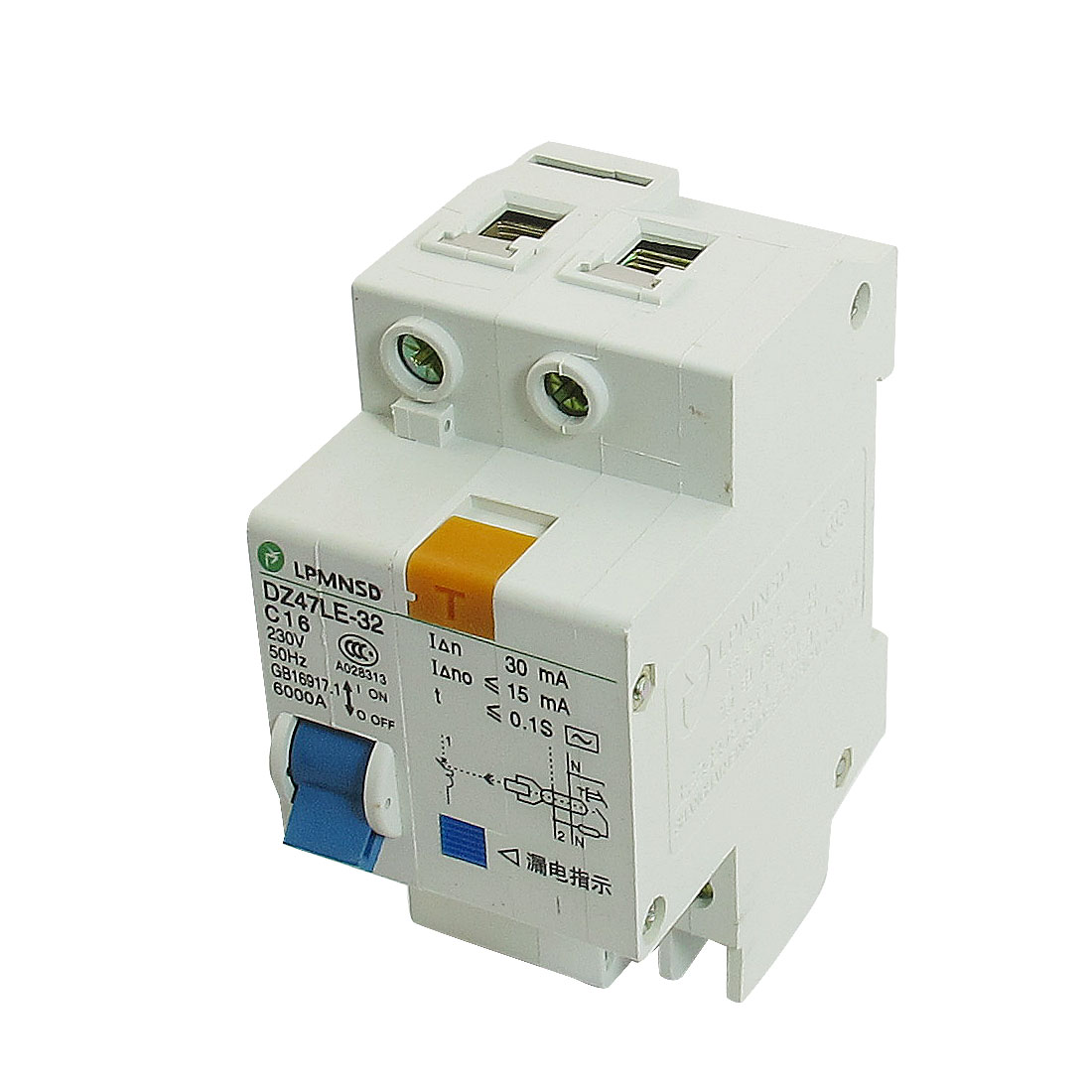 DIN Dail 1P Overload Proetction Circuit Breaker 230VAC 16A 6000A DZ47LE-32