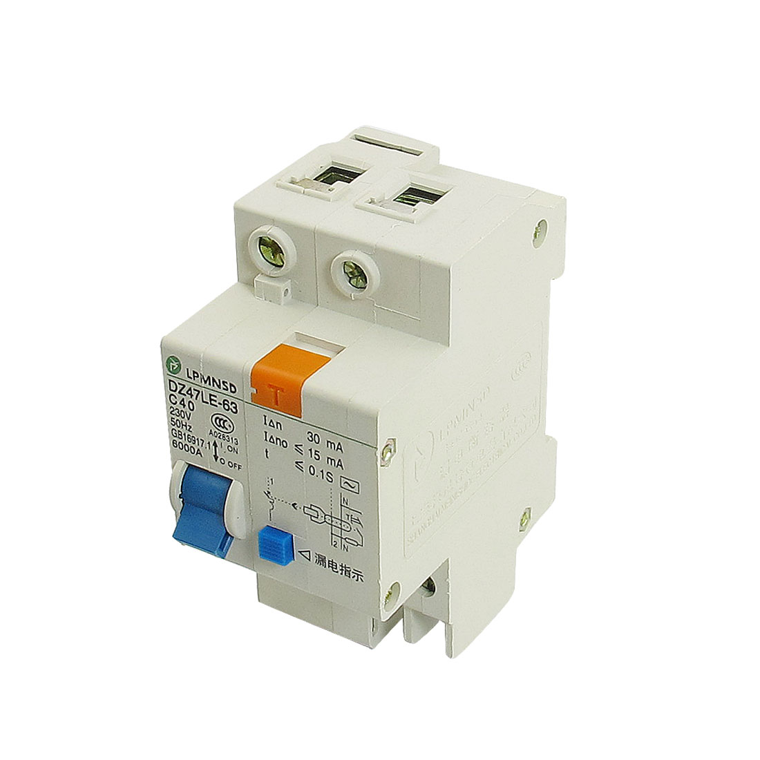 DIN Dail 1P Overload Proetction Circuit Breaker 230VAC 40A 6000A DZ47LE-63