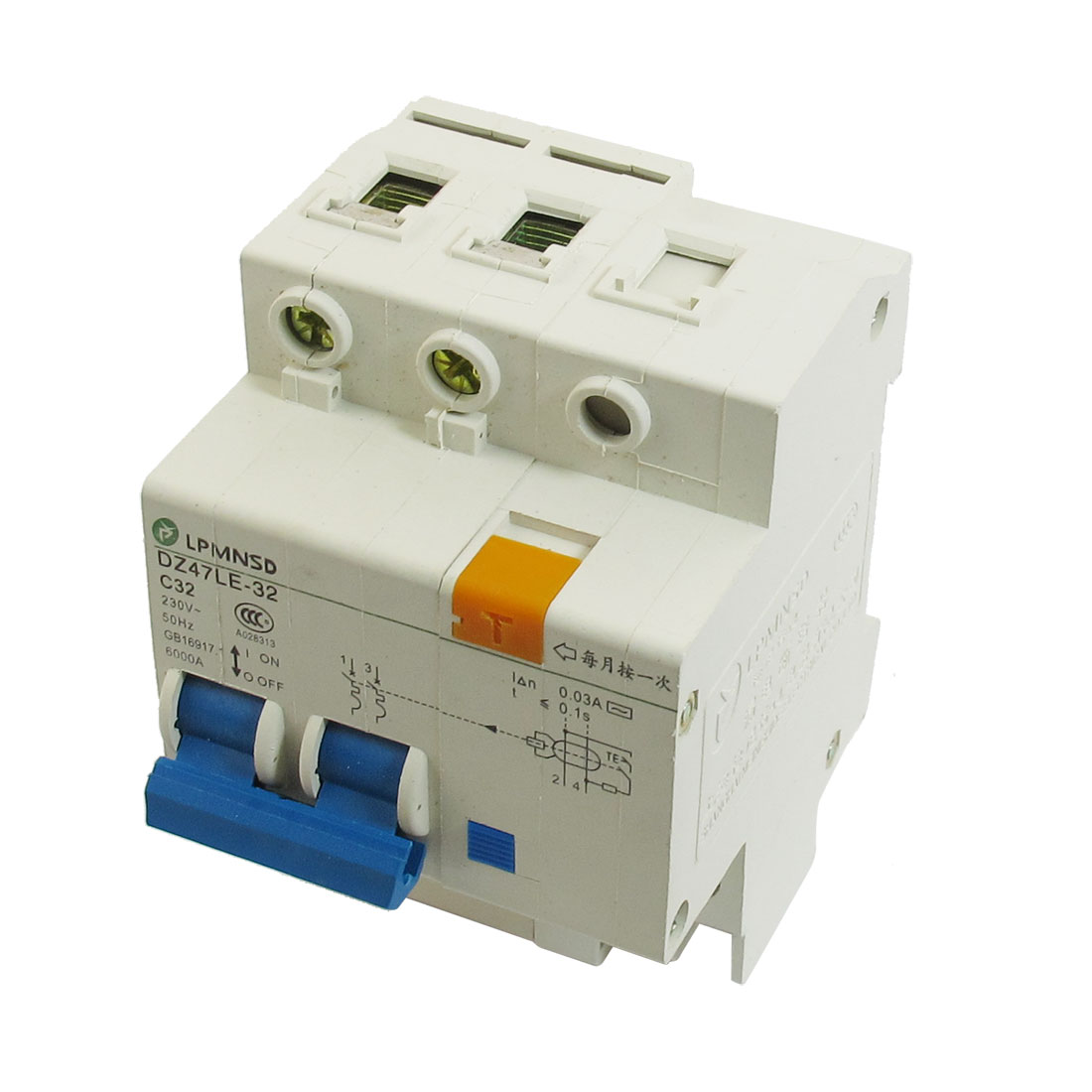 Electric Switch Type 6000A 32A 230VAC Two Poles Earth Leakage Circuit Breakers