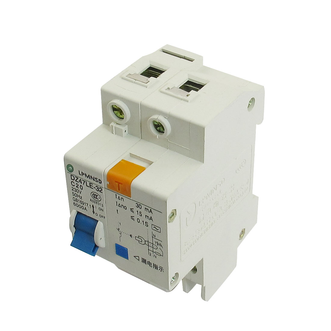 DIN Dail 1P Overload Proetction Circuit Breaker 230VAC 20A 6000A DZ47LE-32