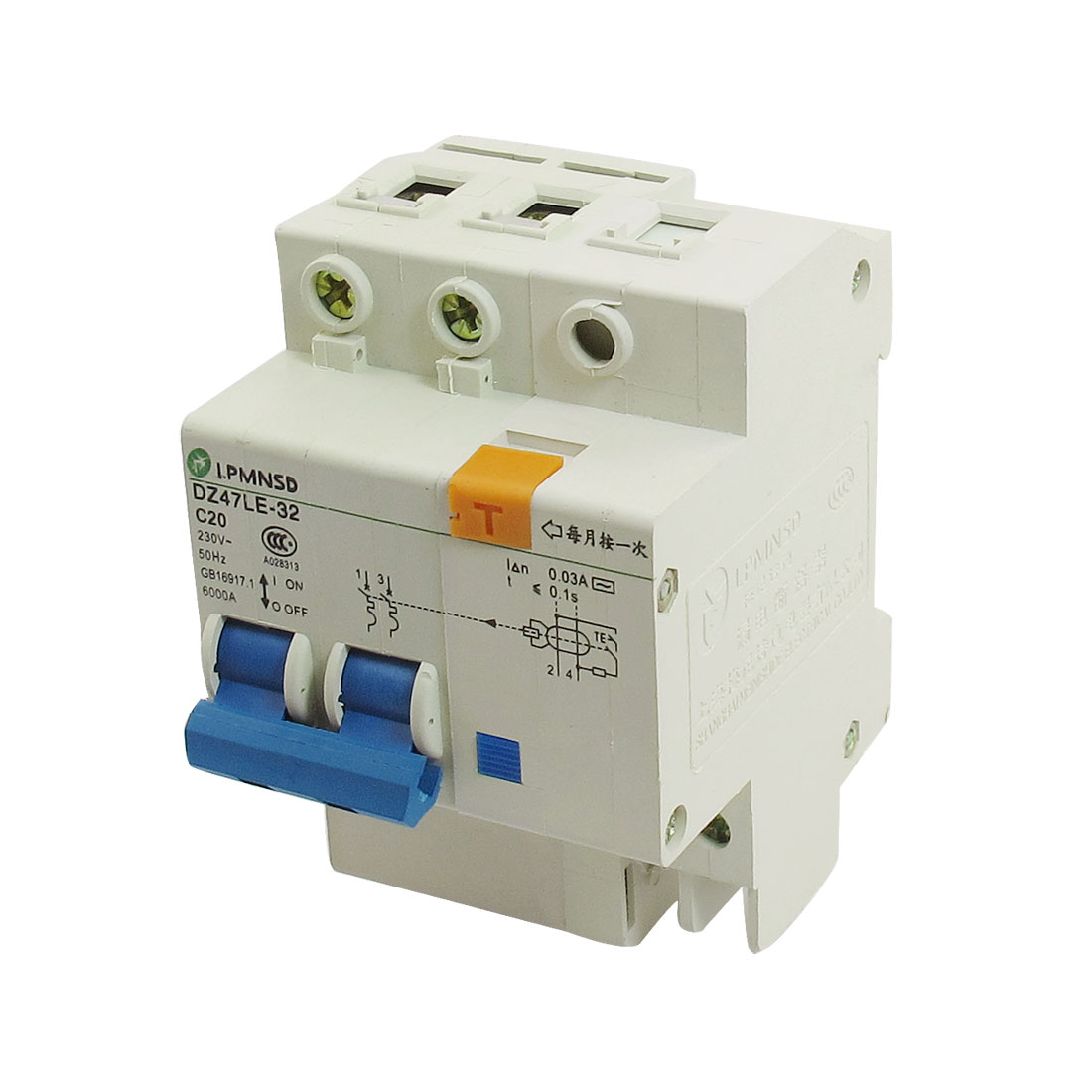 DZ47LE-32 230VAC 20A 2P 6000A Breaking Capacity Earth Leakage Circuit Breaker