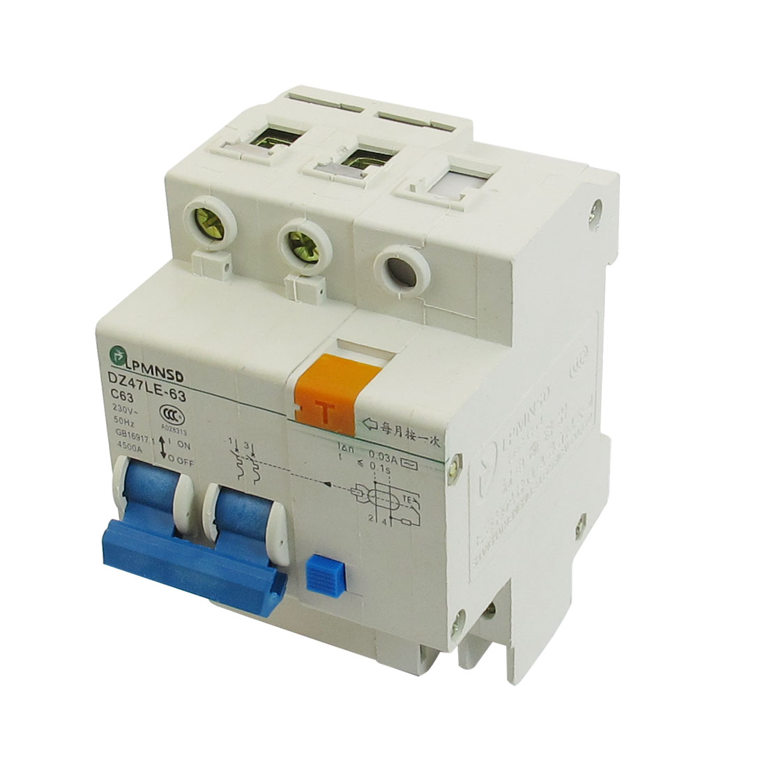 AC 230V 63A Two Pole DZ47LE-63 On/Off Switch Mini Circuit Breaker 4500A