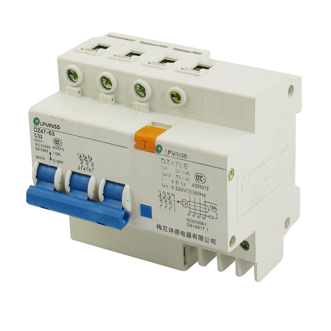 DZ47-63 DZ47LE 32A 400VAC 6000A 3 Pole Mini ELCB Earth Leakage Circuit Breaker