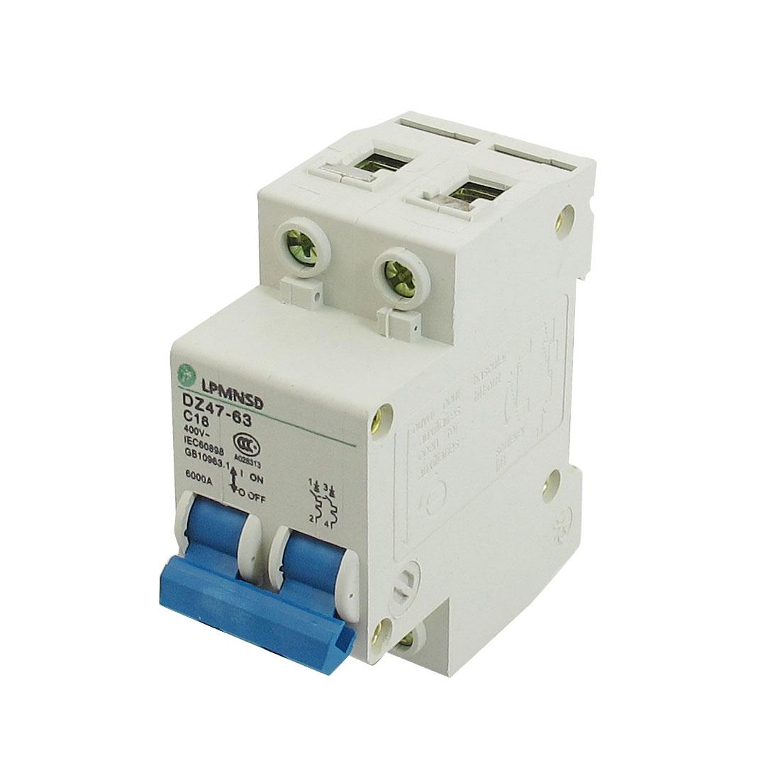 DZ47-63 C16 16A 400VAC 6000A Breaking Capacity 2 Poles Circuit Breaker