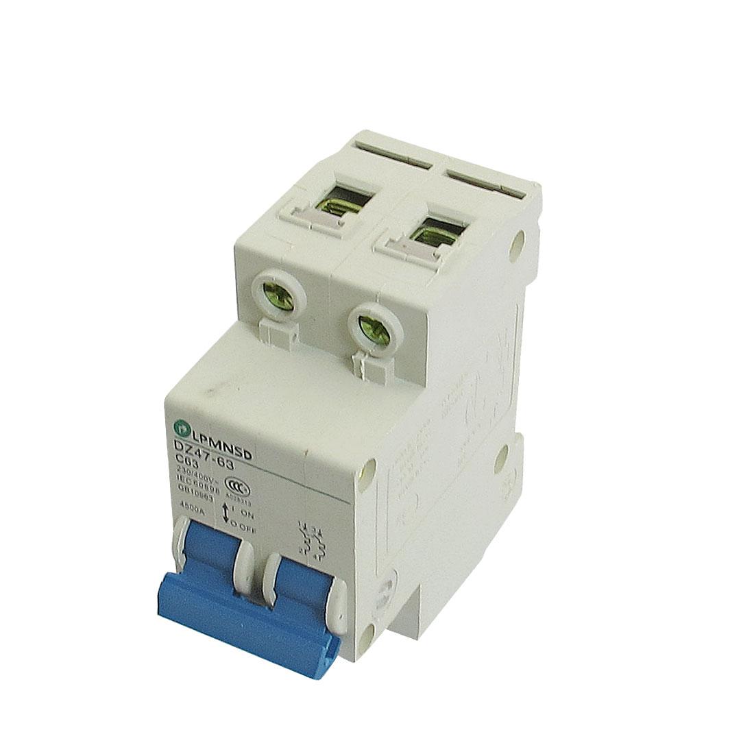 DZ47-63 C63 63A 230/400VAC 4500A Breaking Capacity 2 Poles Circuit Breaker