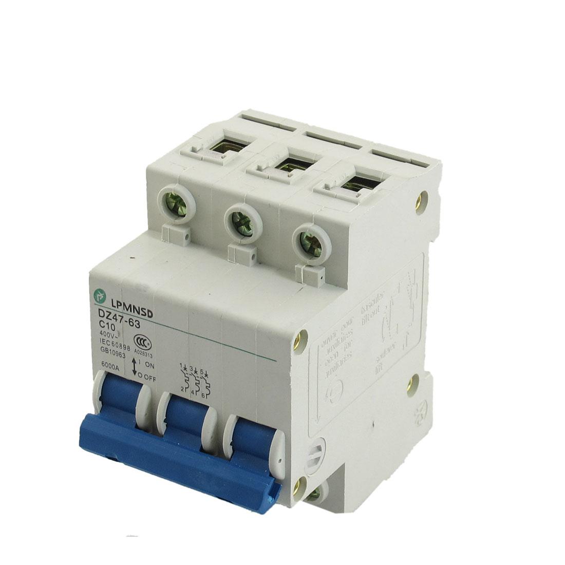DZ47-63 C10 10A 400VAC 6000A Breaking Capacity 3 Poles Circuit Breaker