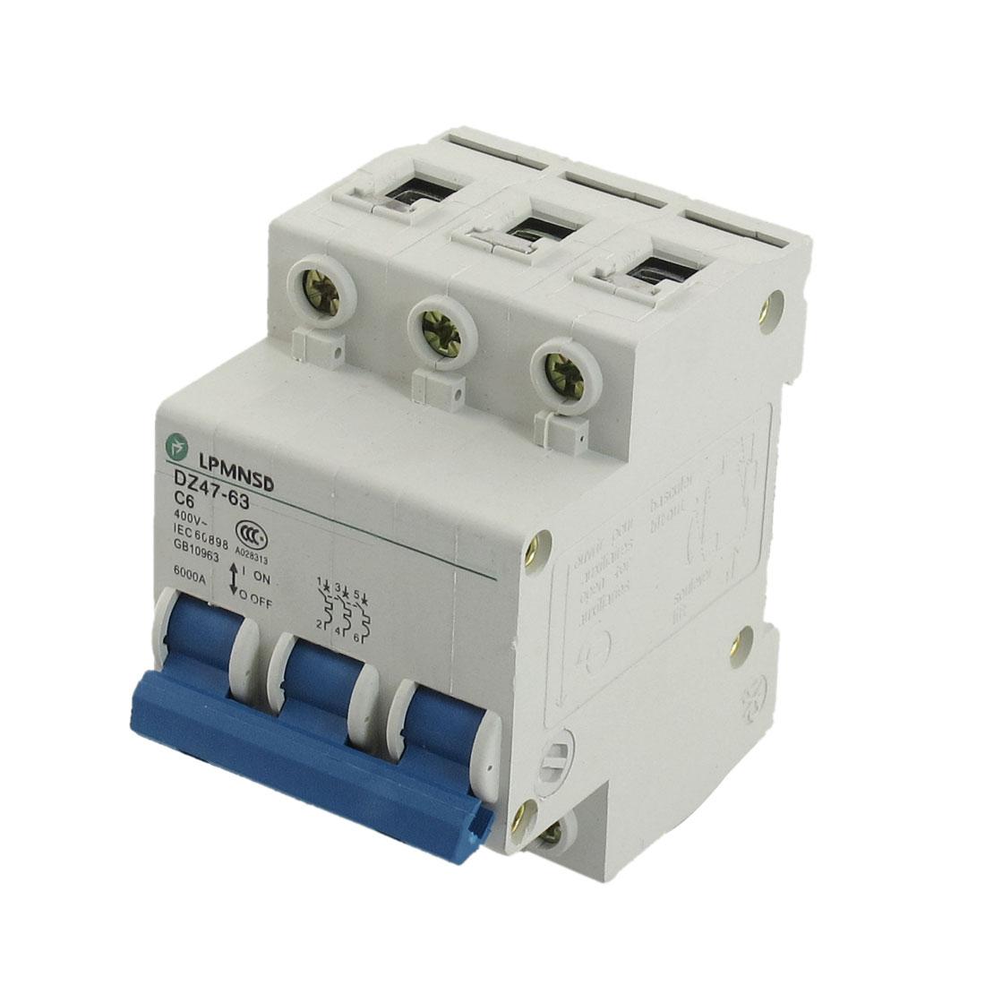 DZ47-63 C6 6A 400VAC 6000A Breaking Capacity 3 Poles Circuit Breaker