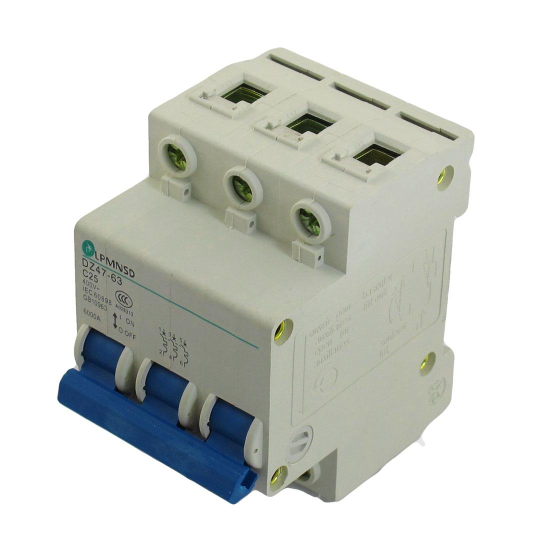 DZ47-63 C25 25A 400VAC 6000A Breaking Capacity 3 Poles Circuit Breaker
