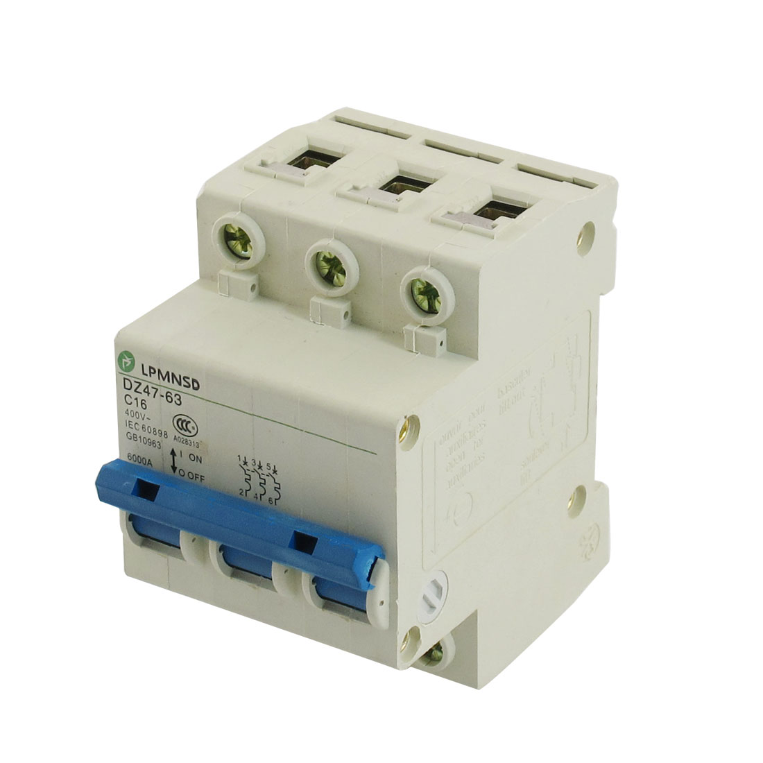 DZ47-63 C16 16A 400VAC 6000A Breaking Capacity 3 Poles Circuit Breaker