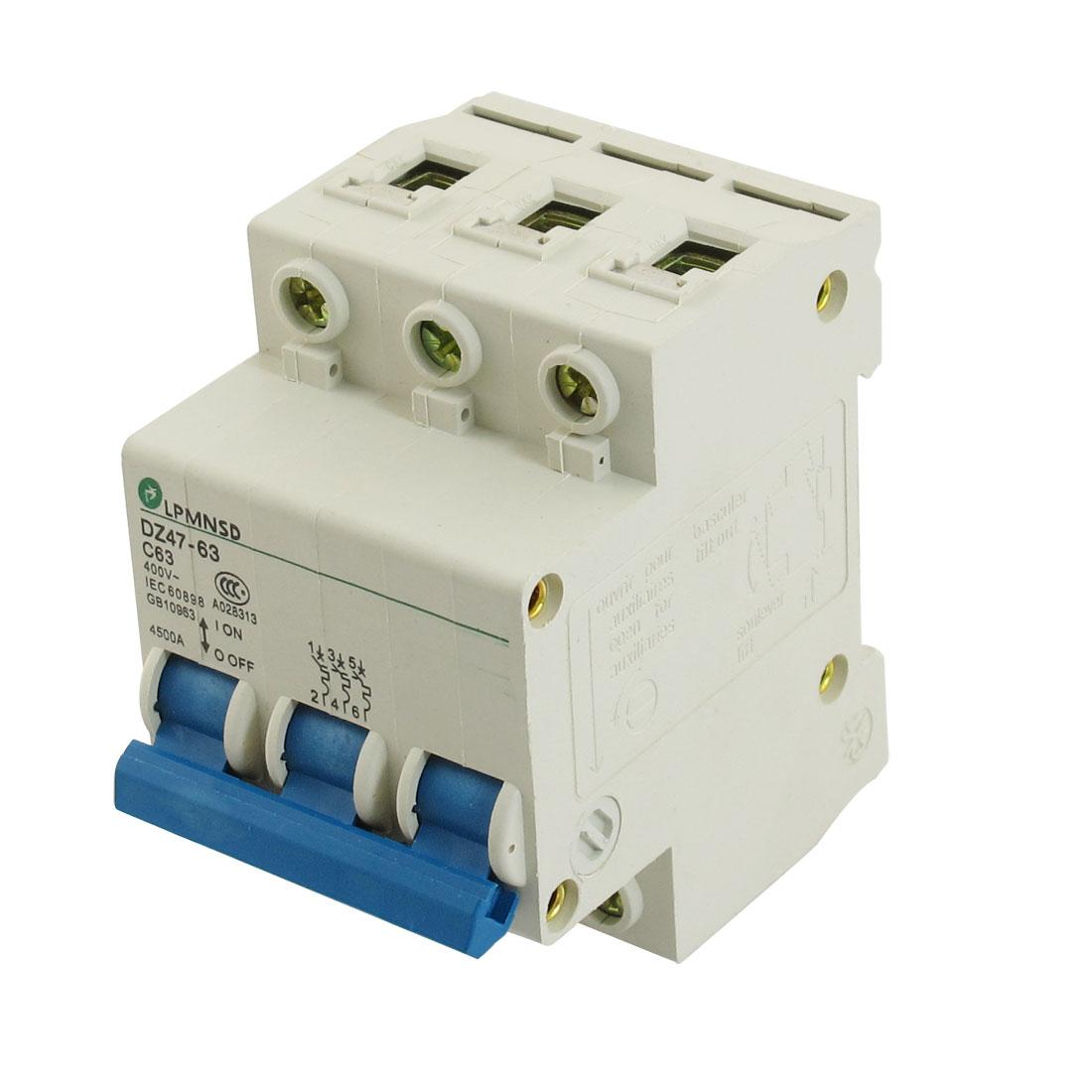 DZ47-63 C63 63A 400VAC 4500A Breaking Capacity 3 Poles Circuit Breaker