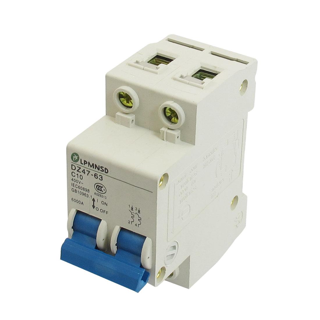DZ47-63 C10 10A 400VAC 6000A Breaking Capacity 2 Poles Circuit Breaker