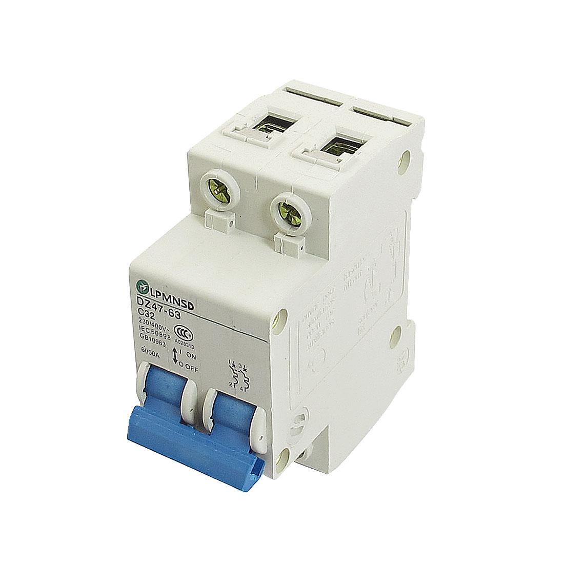 DZ47-63 C32 32A 230/400VAC 6000A Breaking Capacity 2 Poles Circuit Breaker