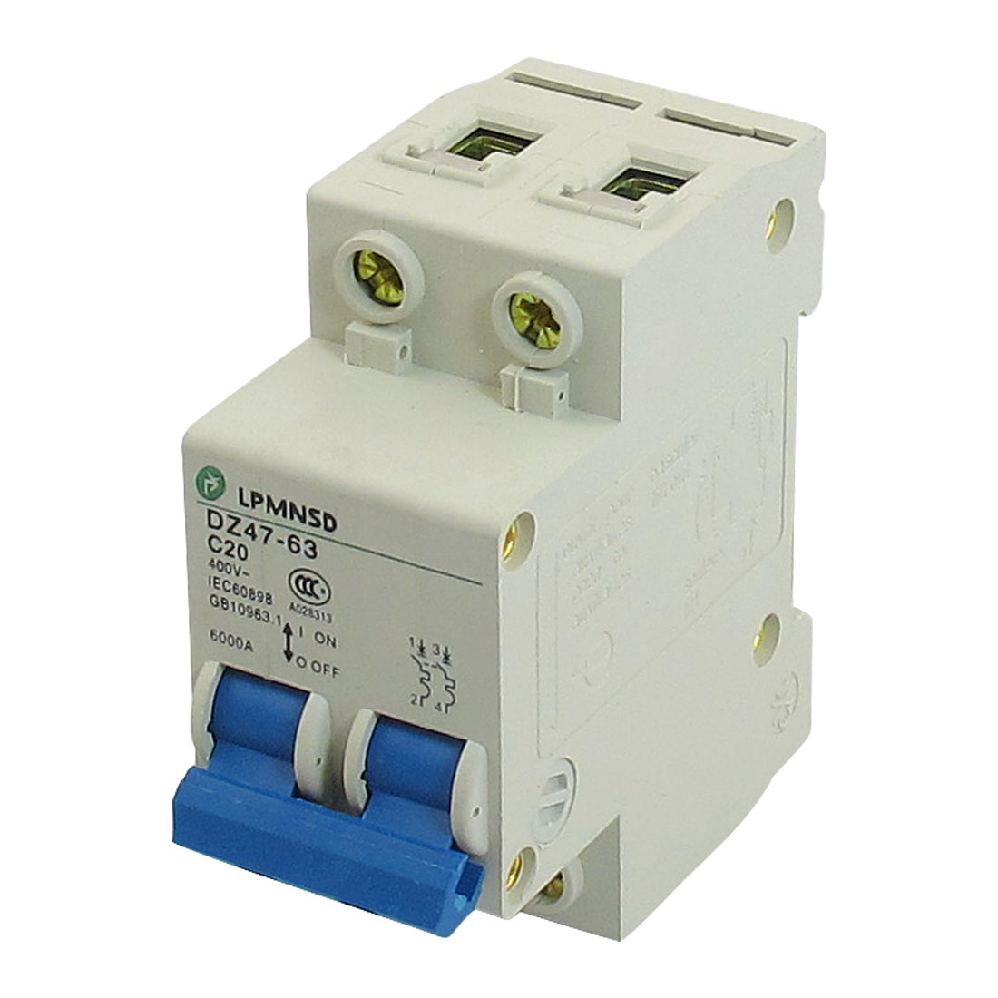 DZ47-63 C20 20A 400VAC 6000A Breaking Capacity 2 Poles Circuit Breaker