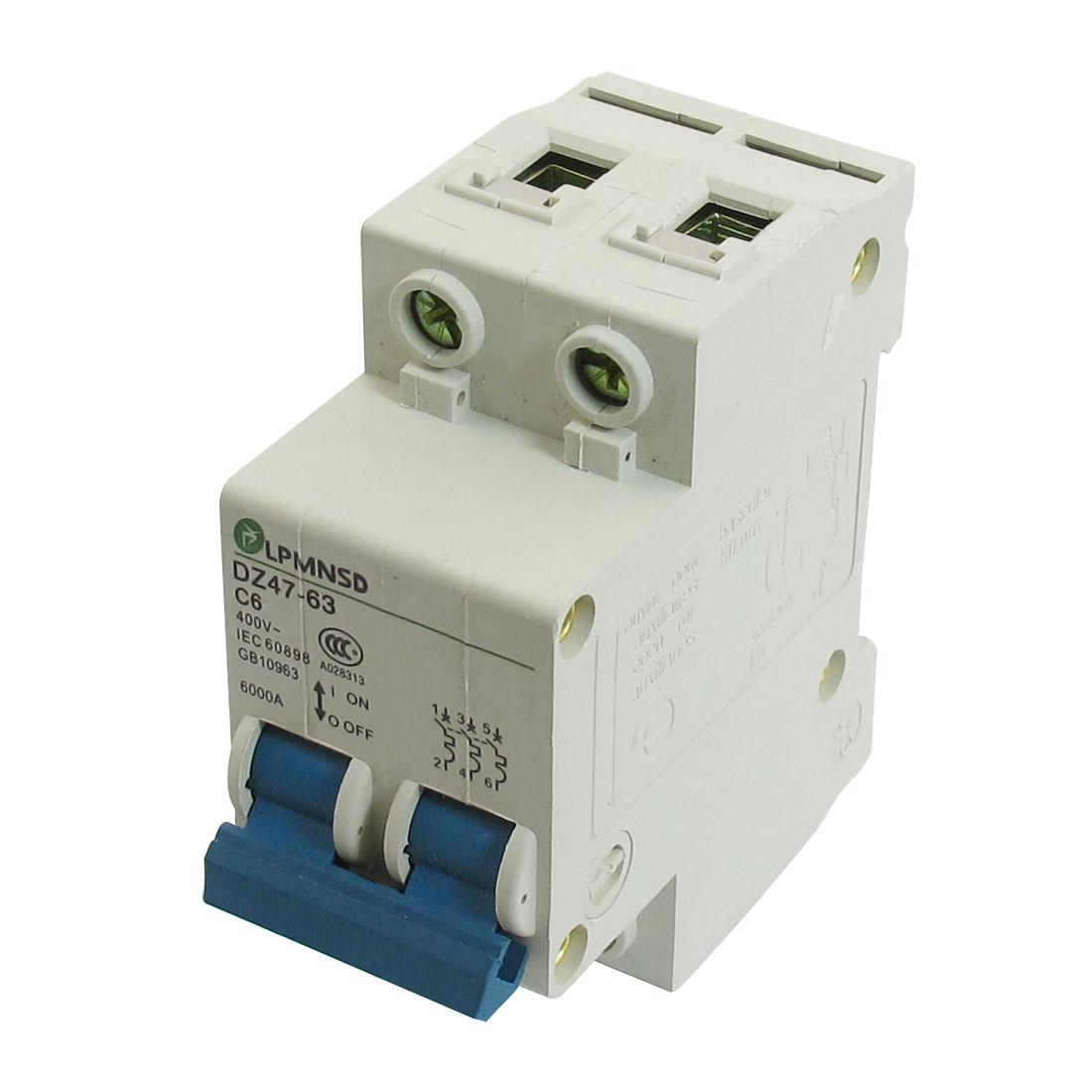 DZ47-63 C6 6A 400VAC 6000A Breaking Capacity 2 Poles Circuit Breaker
