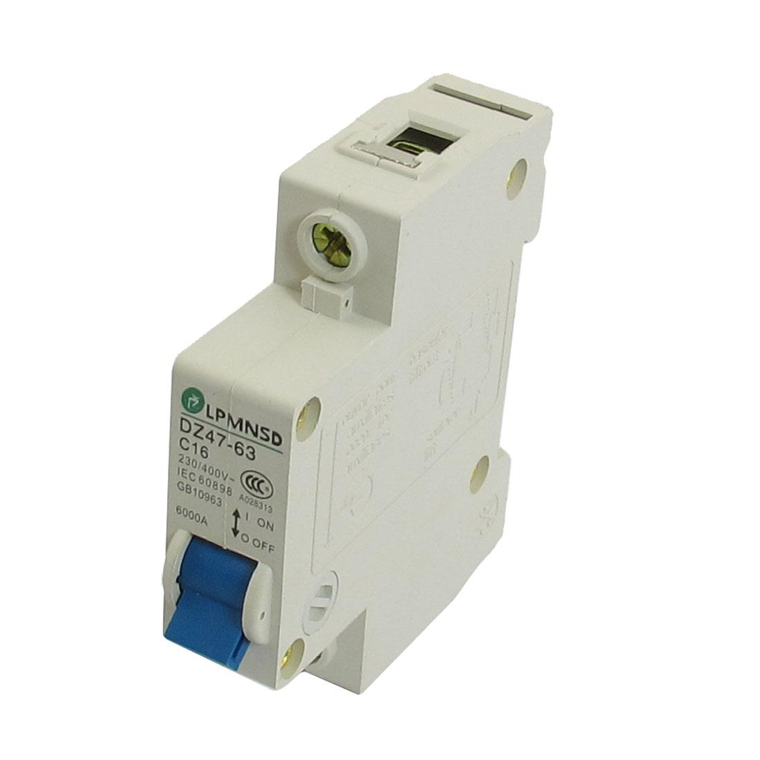 DZ47-63 C16 16A 230/400VAC 6000A Breaking Capacity 1 Poles Circuit Breaker