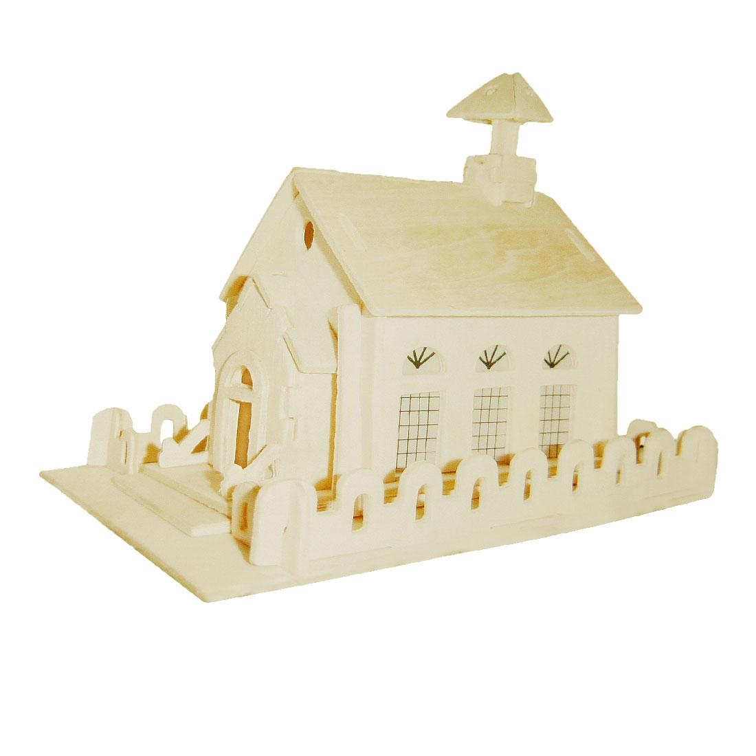Educational Kids Intelligence Beige Church Children Assemble Wooden Puzzle