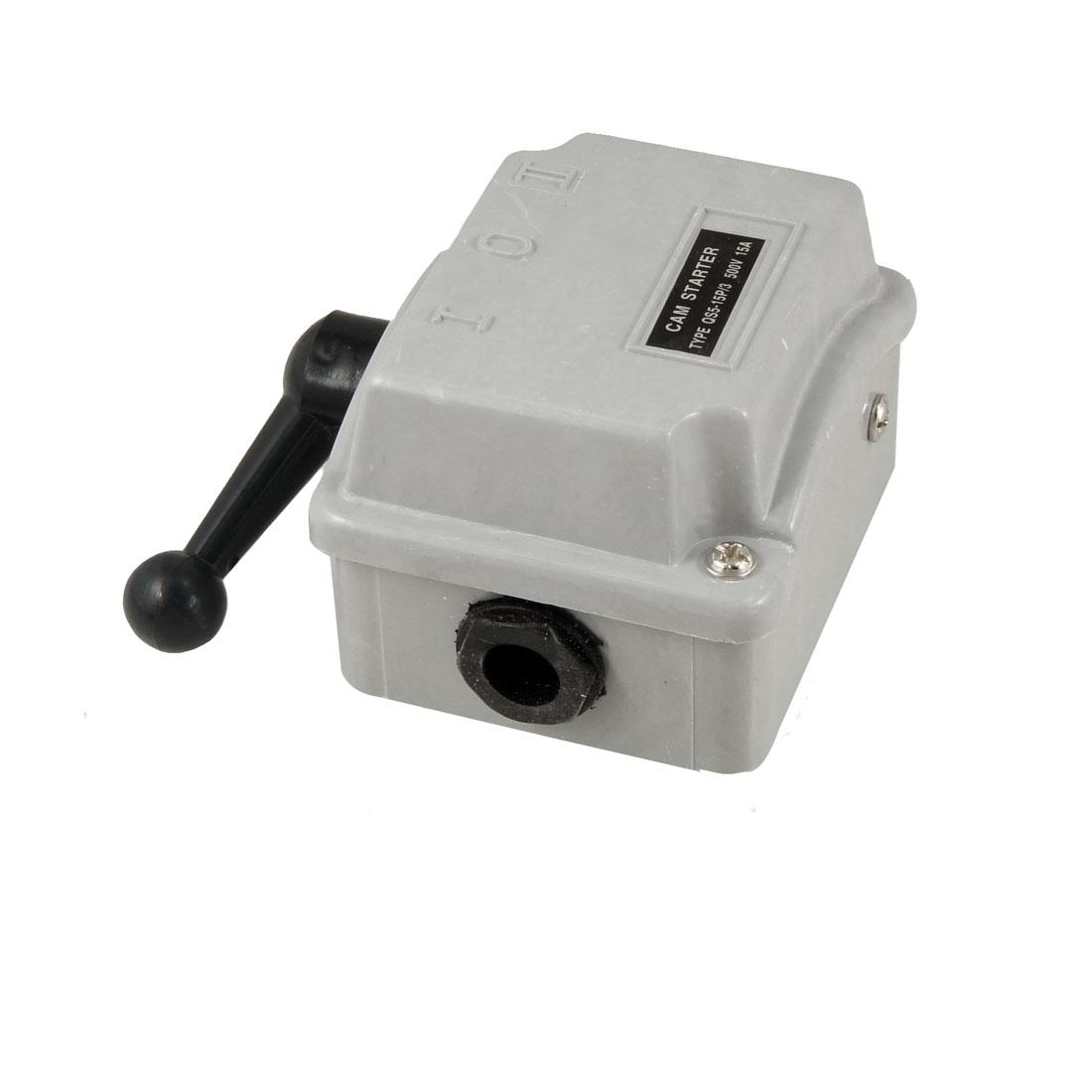 500V 15A 2 Position 3 Pole Motor Starter Protector Gray